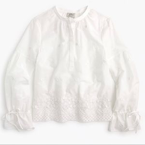 J. Crew White Embroidered Floral Popover Shirt M